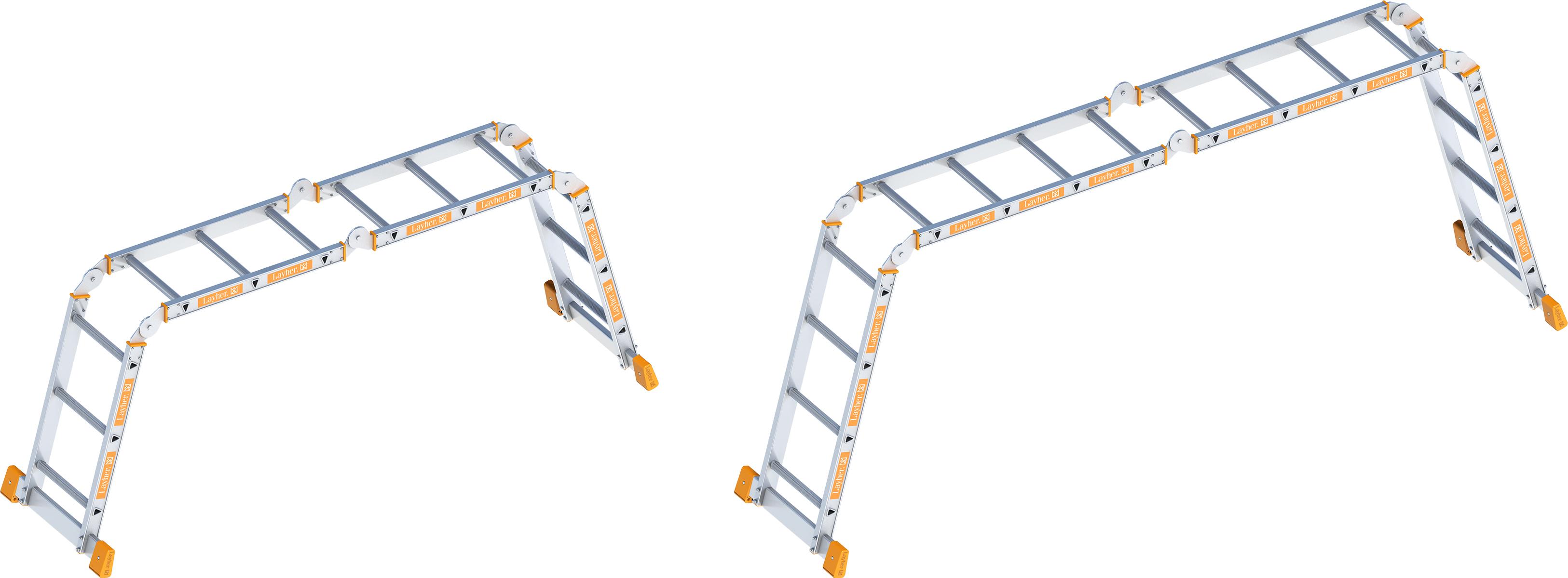 Layher Kofferraumleiter Alu 4x3 Sprossen mit Plattform