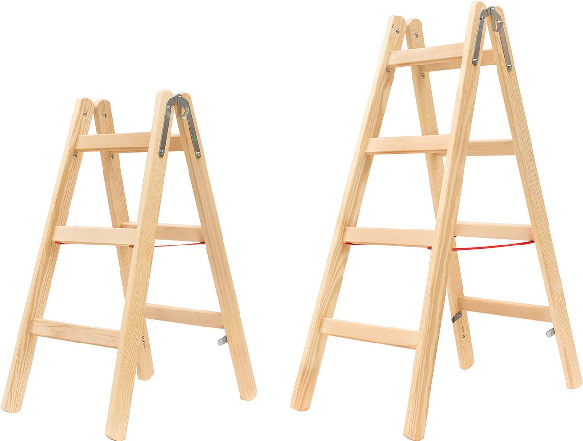 Hymer Stehleiter Holz 2x3 - 2x12 Sprossen
