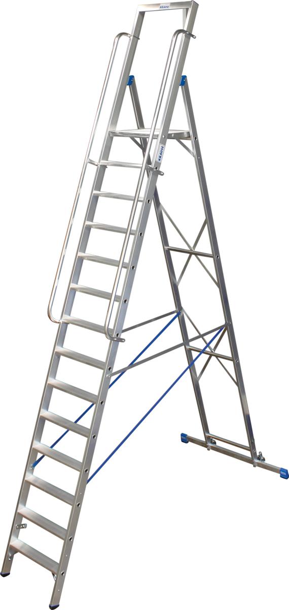 Krause Alu-Stufenstehleiter mit großer Standplattform 14 Stufen