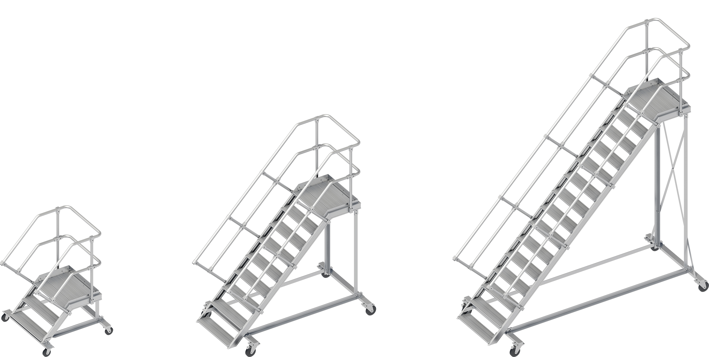 Layher Wartungsbühne 45° - 800 mm breit - mit Umlaufgeländer