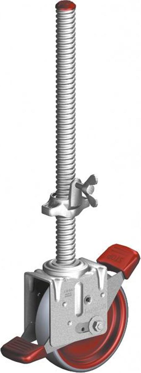 Layher Fahrgerüst Lenkrolle 1000 spindelbar mit elektrisch leitfähigem Polyurethanbelag