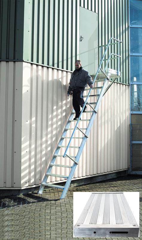 euroline Podesttreppe 45° - 600 mm breit - mit einem Handlauf