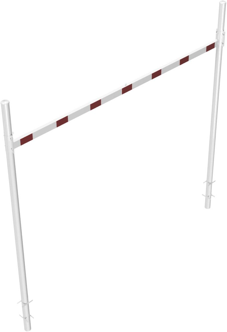 Schake Höhenbegrenzer variabel - 2 Standpfosten Stahl Ø 102 mm weiß | rot