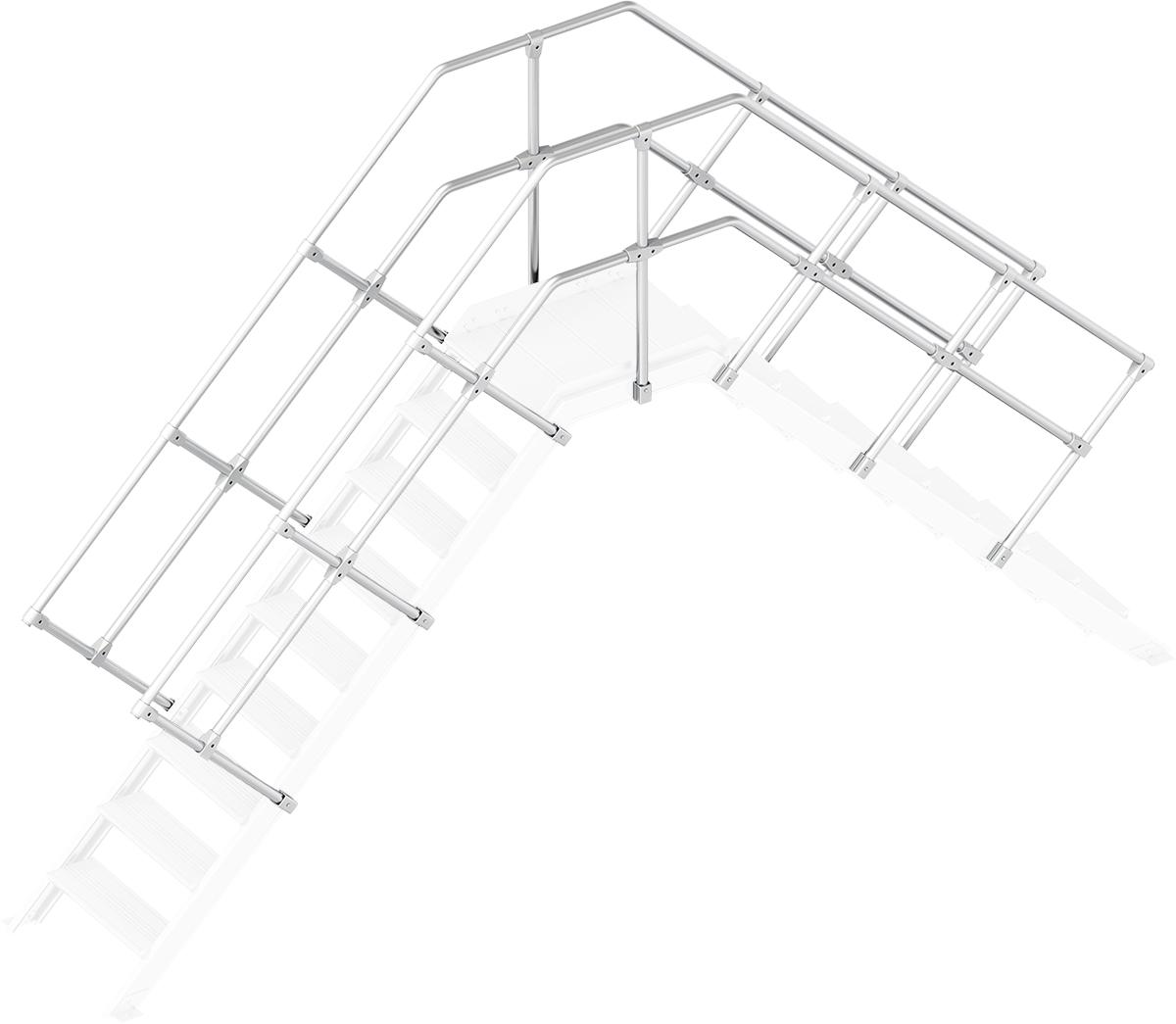 Layher Handlauf Geländer Übergang 45° 9 Stufen