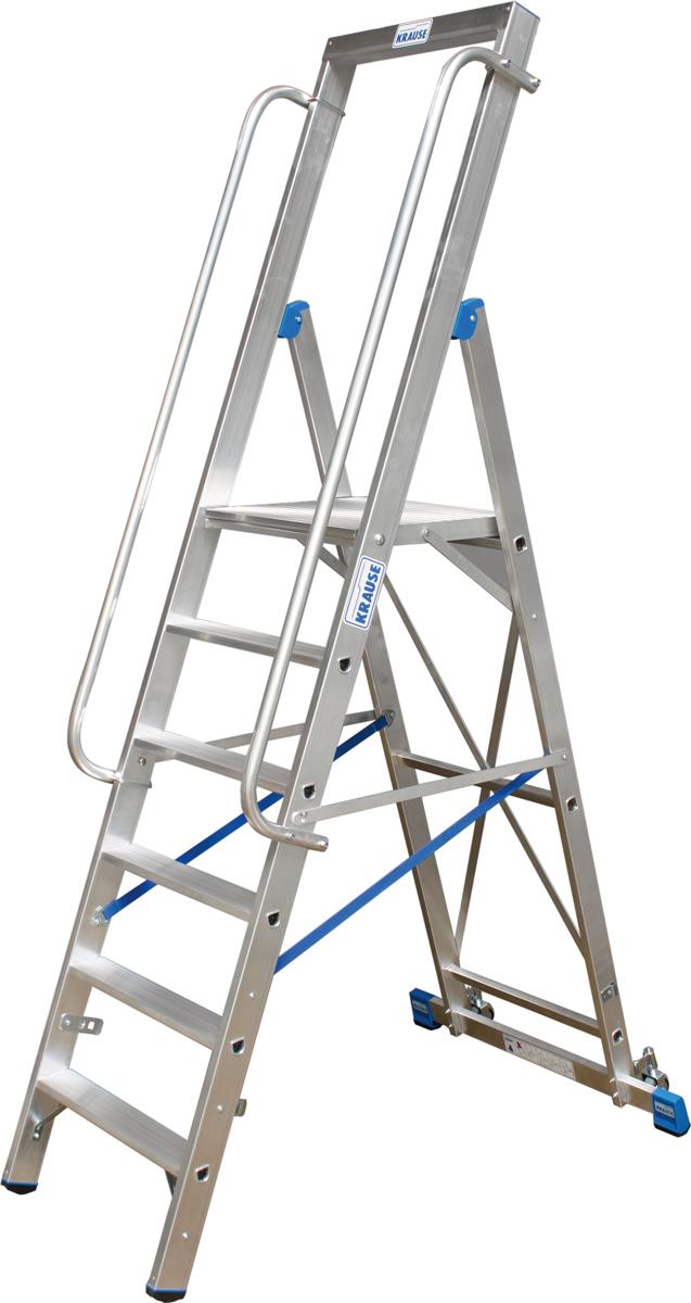 Krause Alu-Stufenstehleiter mit großer Standplattform 4 Stufen
