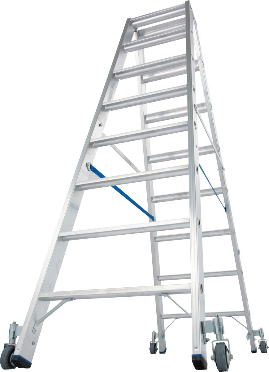 Krause Alu-Stufendoppelleiter fahrbar 2x8 Stufen