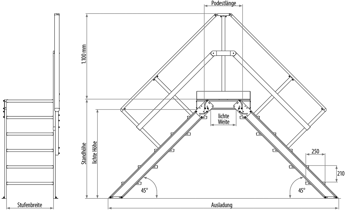 Hymer Überstieg 45° 3 Stufen - 800 mm