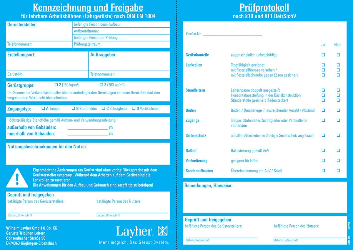 Layher Fahrgerüst Kennzeichnungsblock
