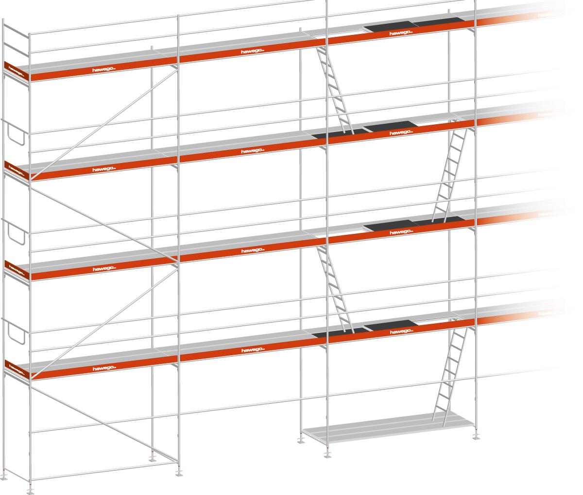 Layher Blitz Gerüst 100 Stahl - Feldlänge 2,57 m