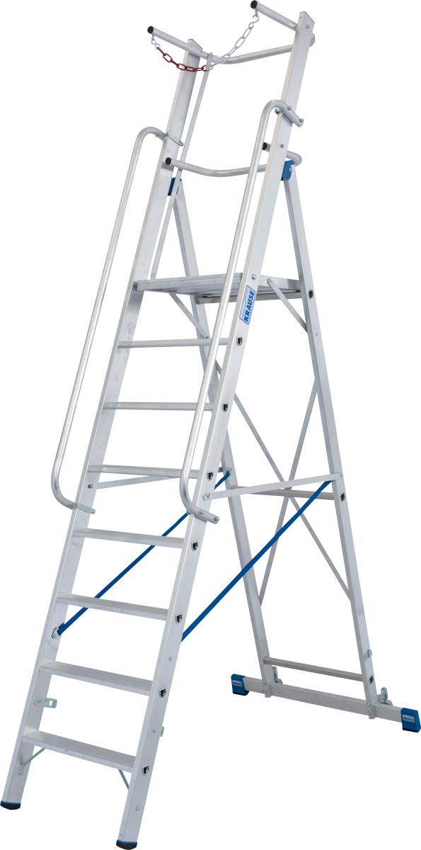 Krause Alu-Stufenstehleiter mit großer Standplattform SB 8 Stufen