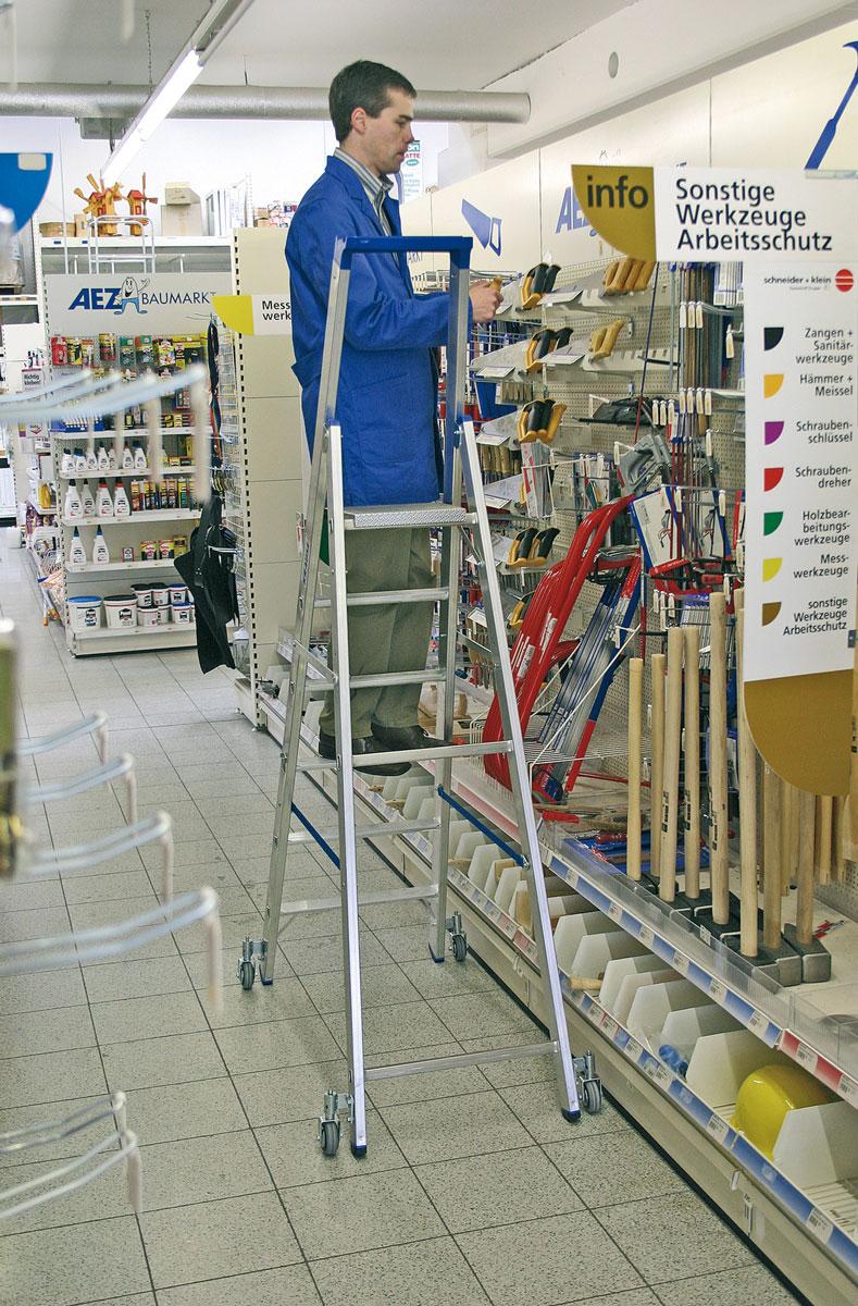 Krause Alu-Stufenstehleiter fahrbar 5 Stufen