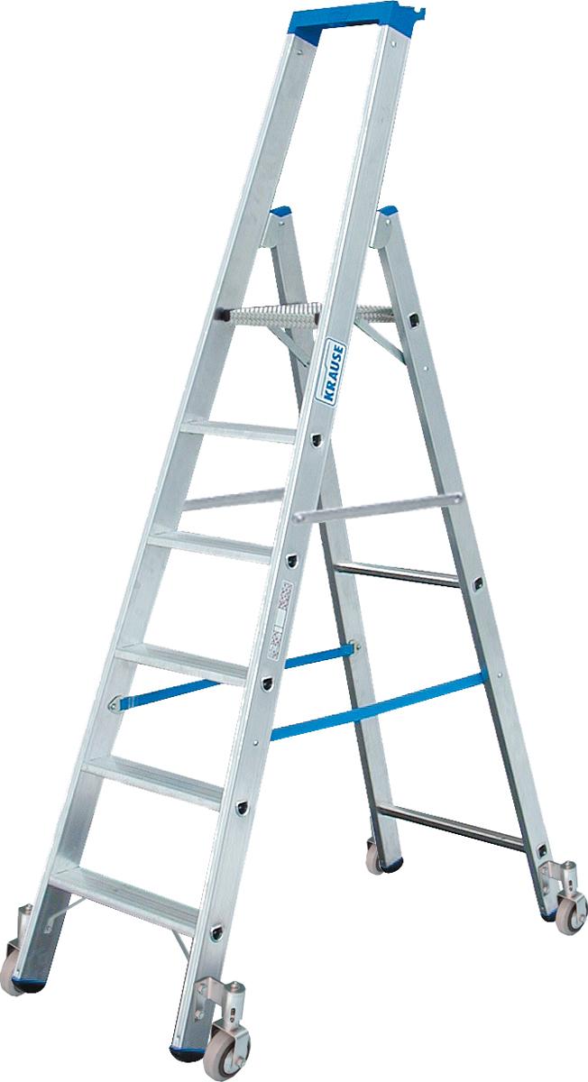 Krause Alu-Stufenstehleiter fahrbar 6 Stufen