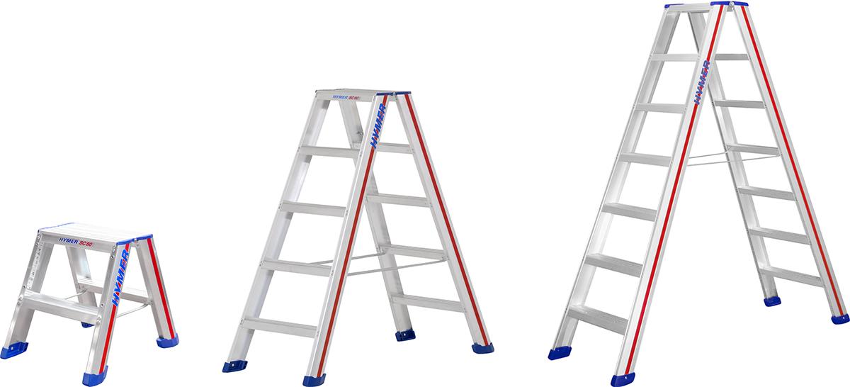 Hymer Stehleiter SC 60 Alu 2x2 - 2x10 Stufen
