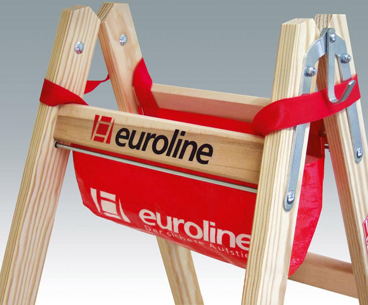 euroline Stehleiter Holz 2x3 Sprossen
