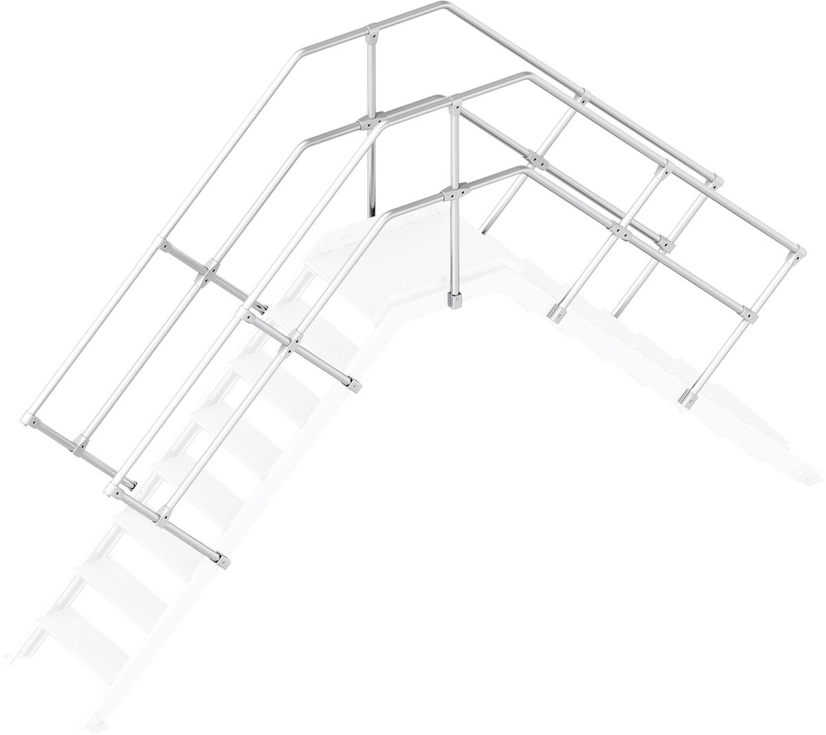 Layher Handlauf Geländer Übergang 45° 8 Stufen
