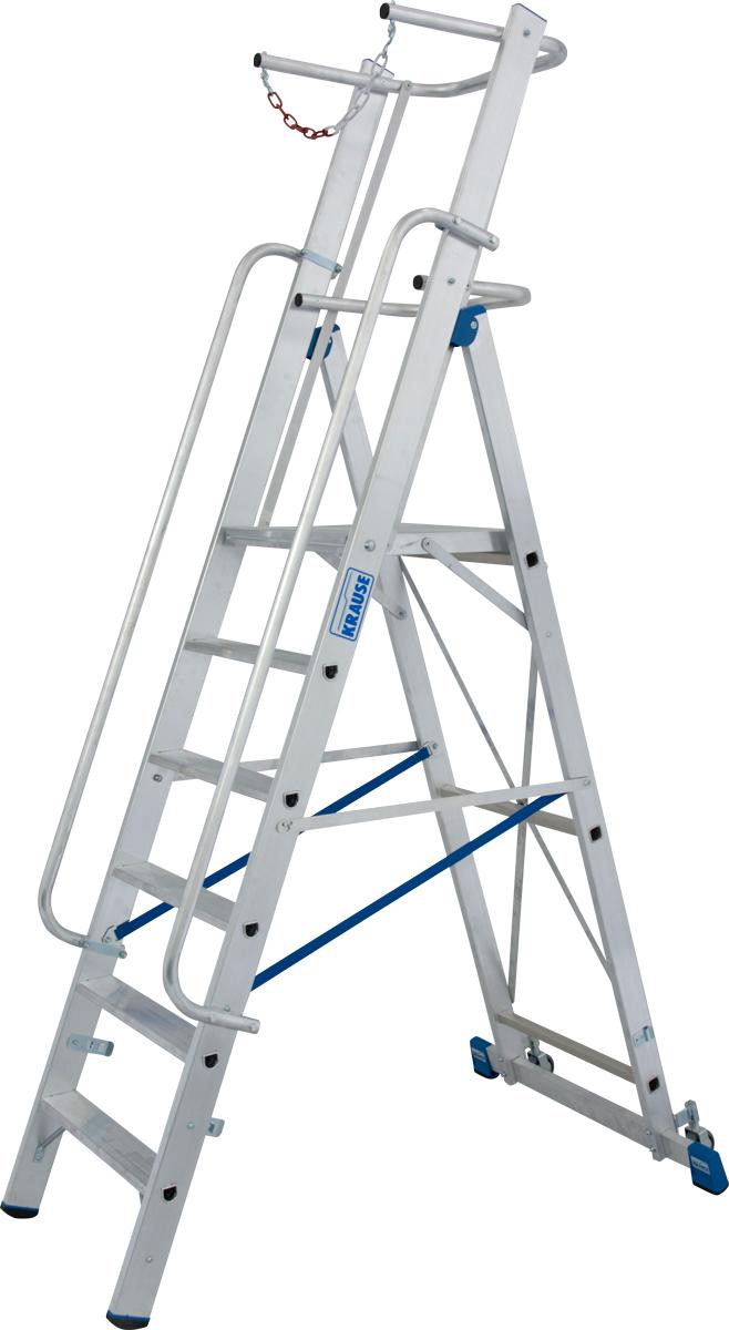 Krause Alu-Stufenstehleiter mit großer Standplattform SB 4 Stufen