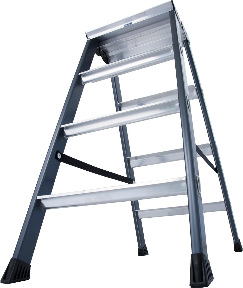 Krause Alu-Stufendoppelleiter SePro® D eloxiert 2x4 Stufen