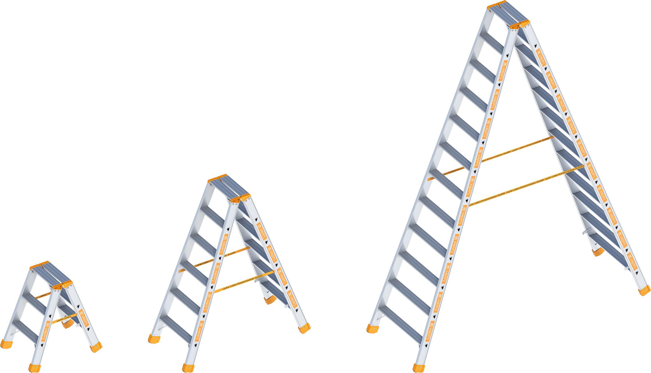 Layher Stehleiter Alu Stufen beidseitig begehbar