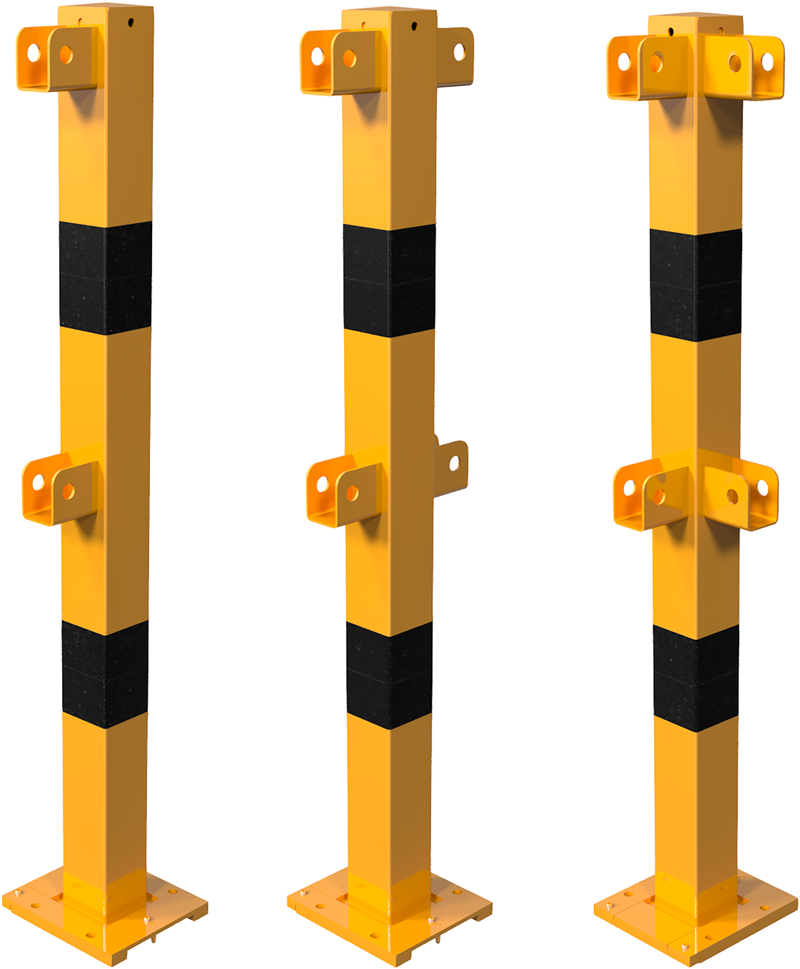 Schake Schutzgeländer Stahl Schraubsystem Standpfosten abnehmbar 70 x 70 mm gelb | schwarz