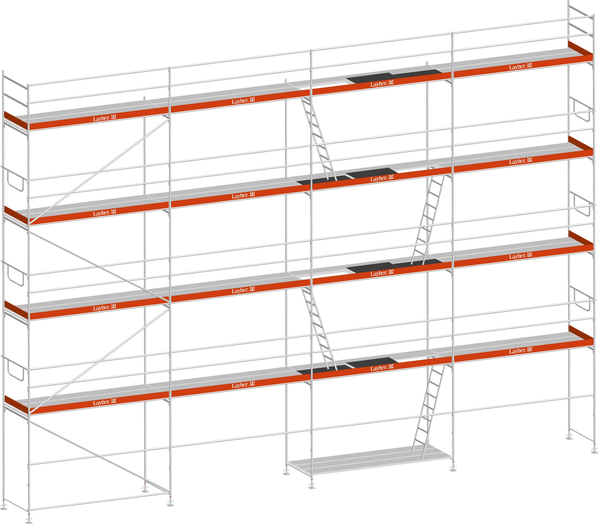 Layher Blitz Gerüst 100 Stahl 105 m²