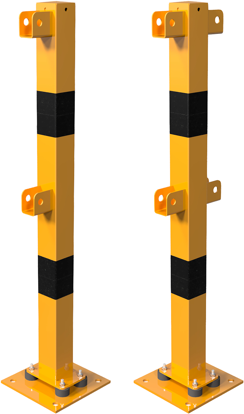 Schake Schutzgeländer Stahl Schraubsystem Standpfosten neigbar 70 x 70 mm gelb | schwarz