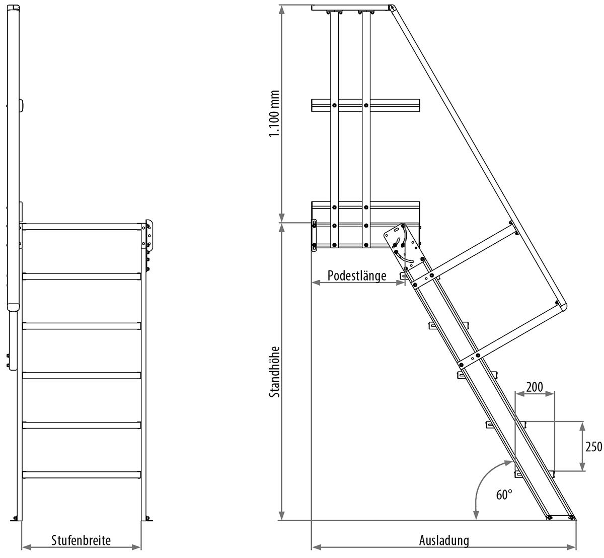 Hymer Podesttreppe 60° 4 Stufen - 1000 mm