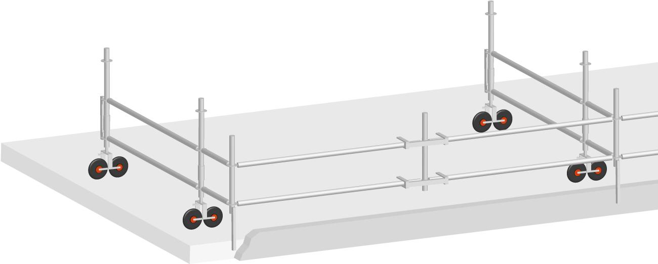 Layher Flachdach Seitenschutz mobil Stahl