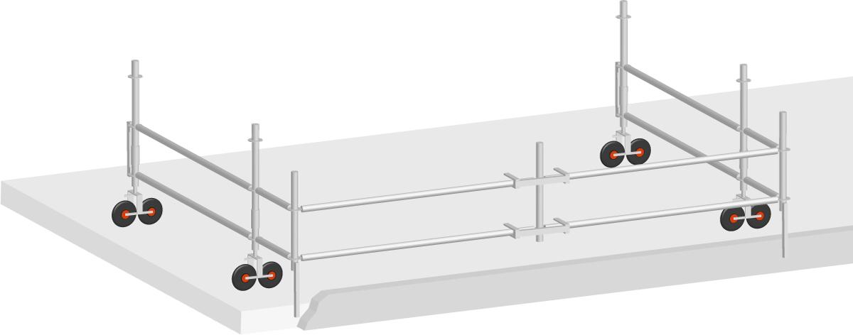 Layher Flachdach Seitenschutz mobil Stahl 6,14 m