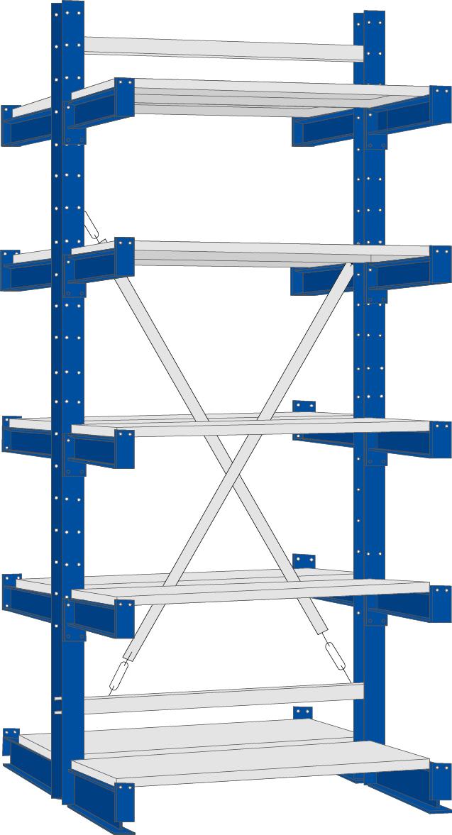 Regalwerk KARL Kragarmregal Typ 2|250 doppelseitig