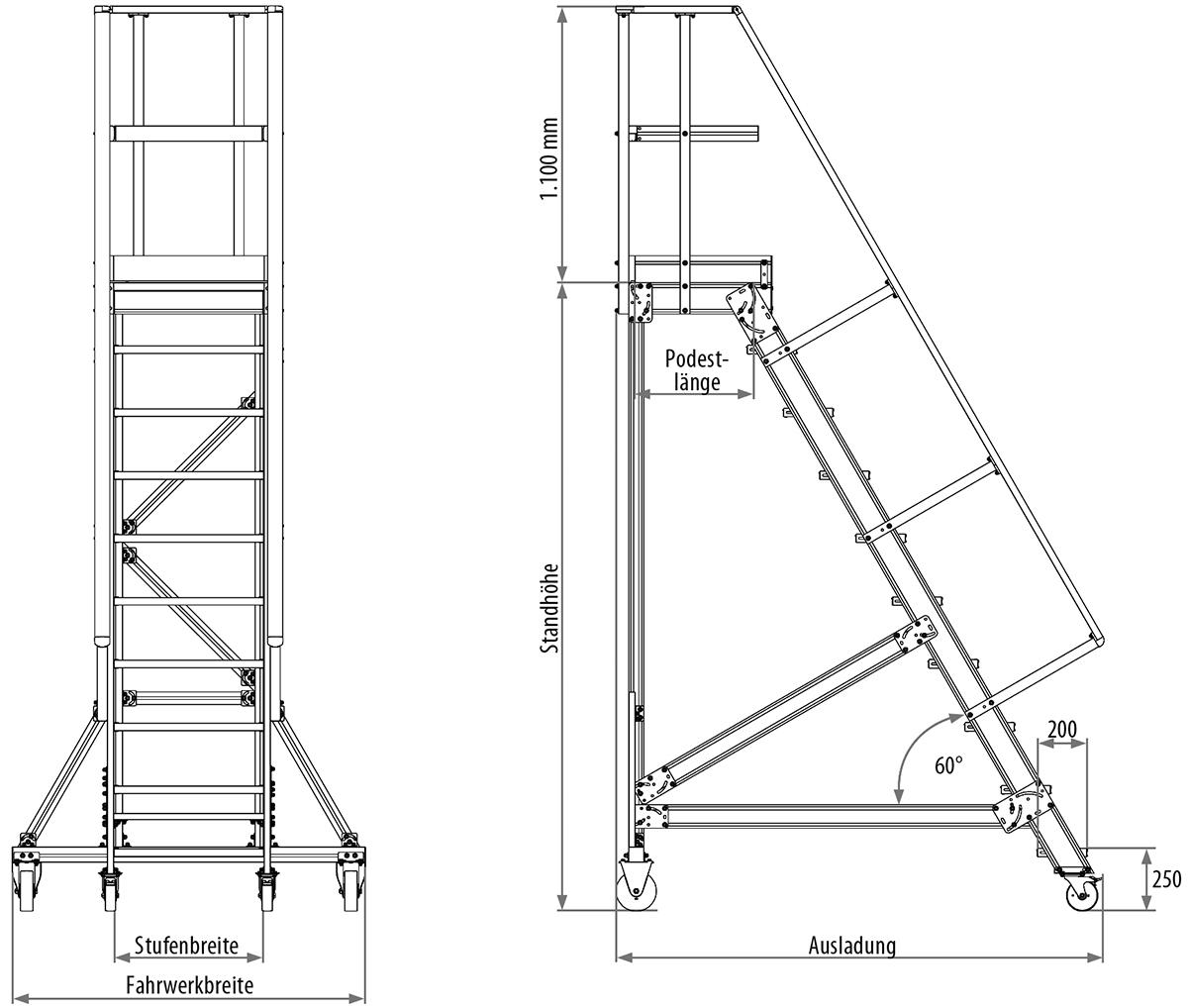 Hymer Podesttreppe fahrbar 60° 4 Stufen - 600 mm breit