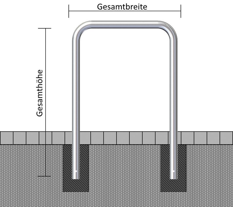Schake Rohrbügel Stahl OE Ø 76 mm verzinkt - 1000 mm Absperrbügel ortsfest - zum Einbetonieren (SK-475.10) Bild-01