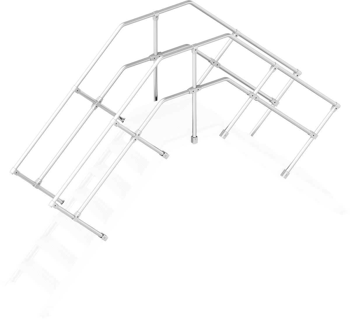 Layher Handlauf Geländer Übergang 45° 7 Stufen