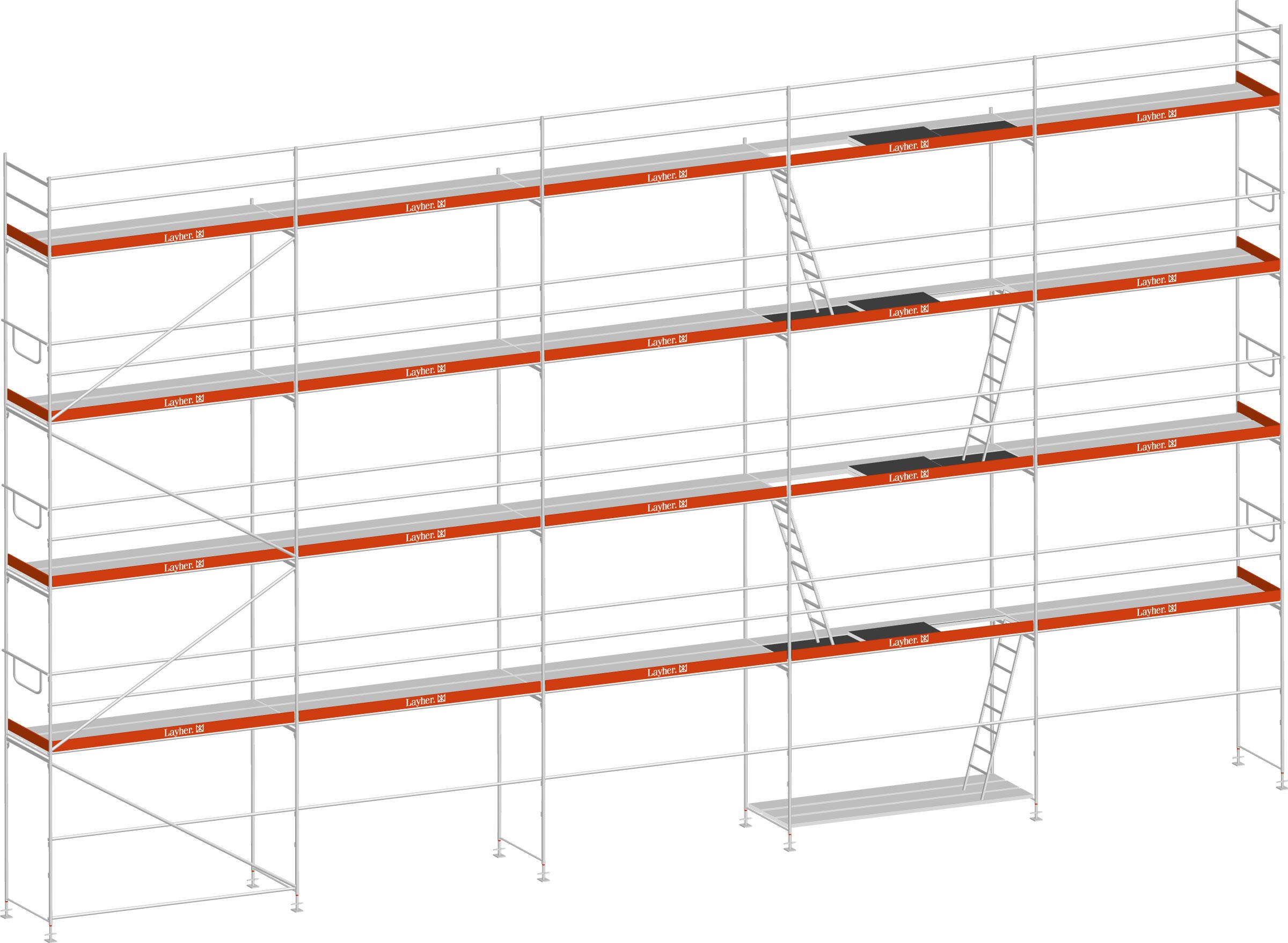 Layher Blitz Gerüst 100 Stahl 131 m²
