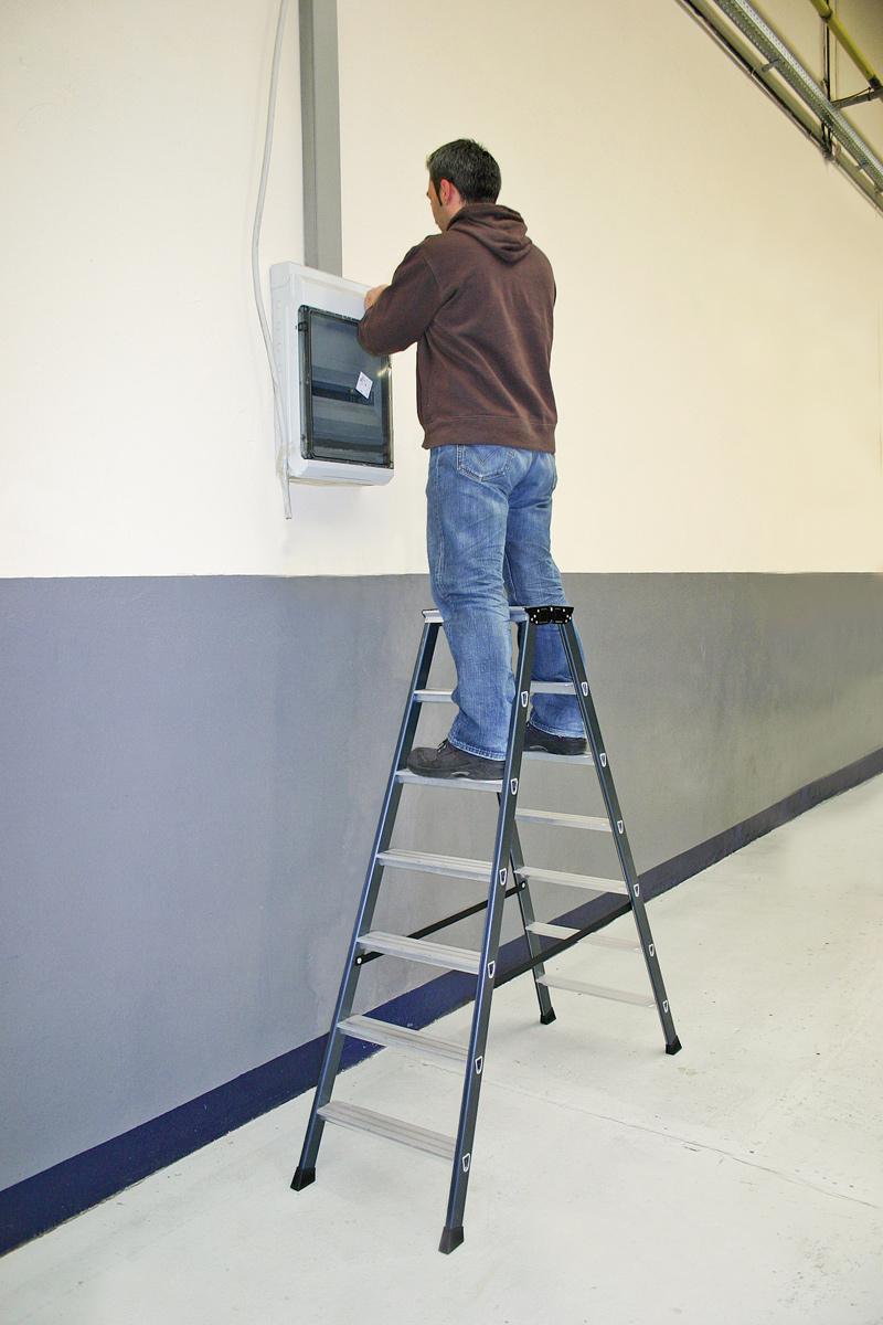 Krause Alu-Stufendoppelleiter SePro® D eloxiert 2x3 Stufen