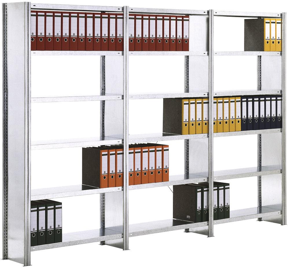 Regalwerk BERT Büroregal SW 150 mit Seitenwand - Fachlast 150 kg - 6 bis 7 Fachböden (RW-C-B3-55508-30) Bild-01
