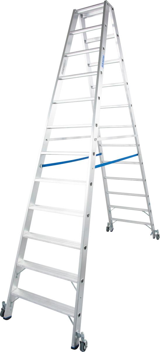 Krause Alu-Stufendoppelleiter fahrbar 2x12 Stufen