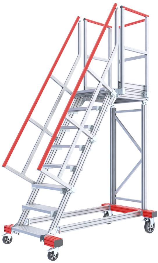 Hymer Podesttreppe fahrbar 60° - 600 mm breit - mit umlaufendem Geländer
