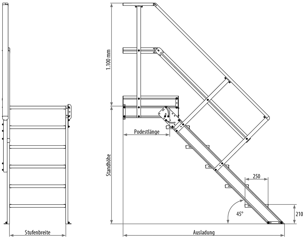 Hymer Podesttreppe 45° 4 Stufen - 600 mm