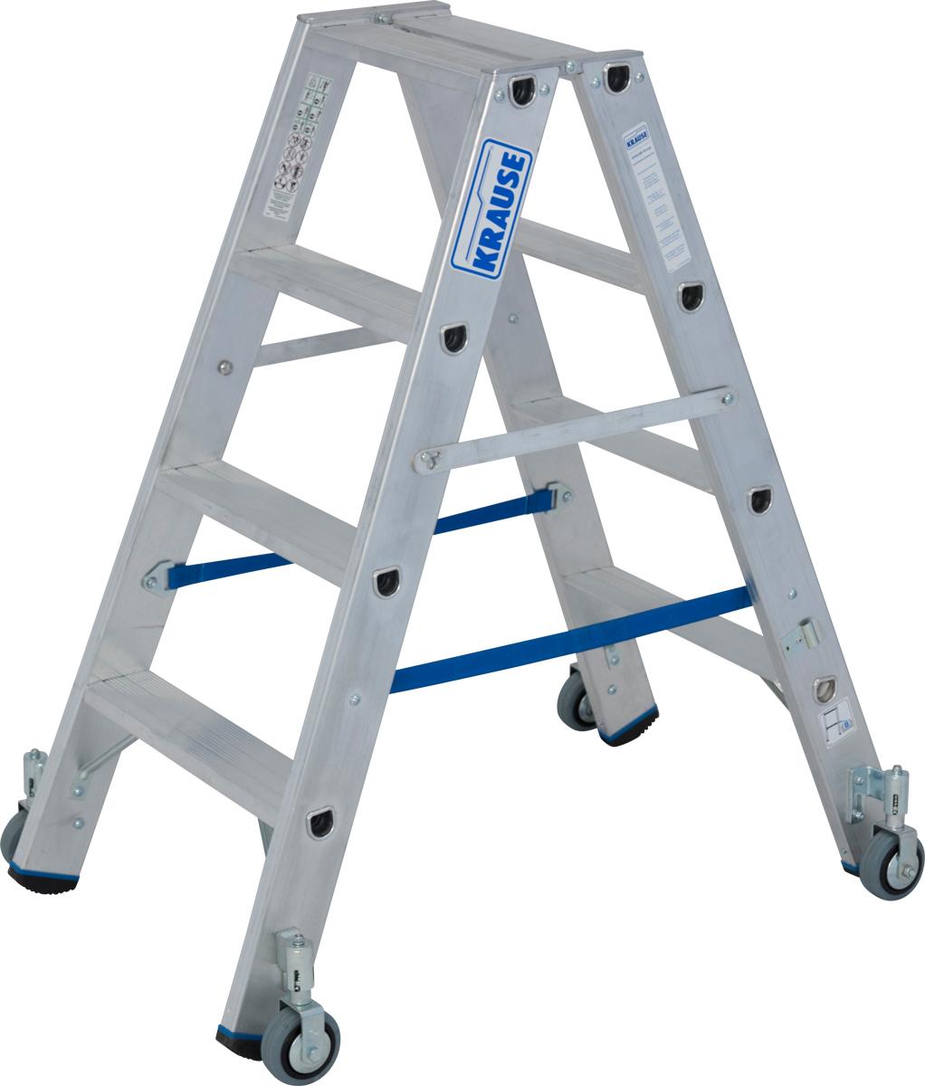 Krause Alu-Stufendoppelleiter fahrbar 2x4 Stufen
