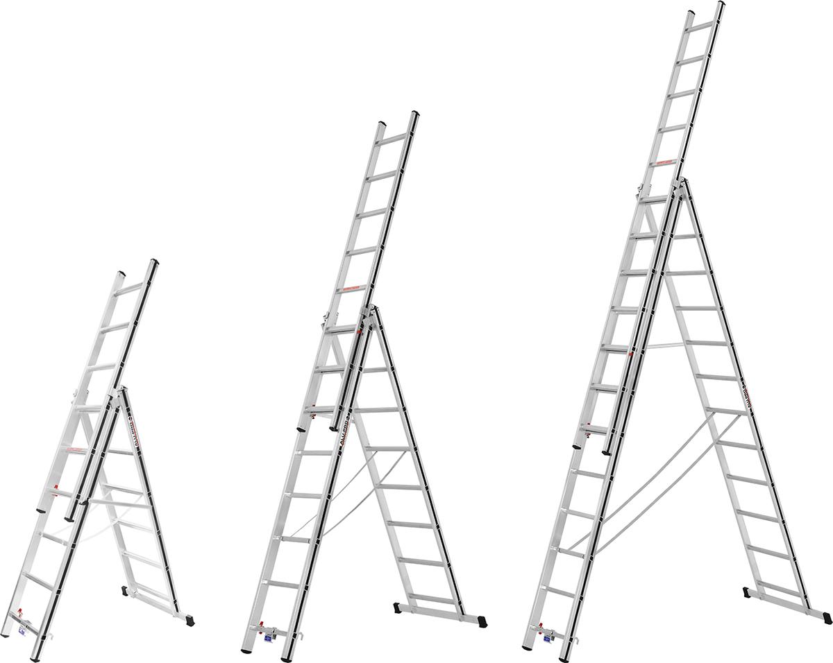 Hymer Alu-Pro Mehrzweckleiter 3-teilig 3x6 - 3x12 Sprossen