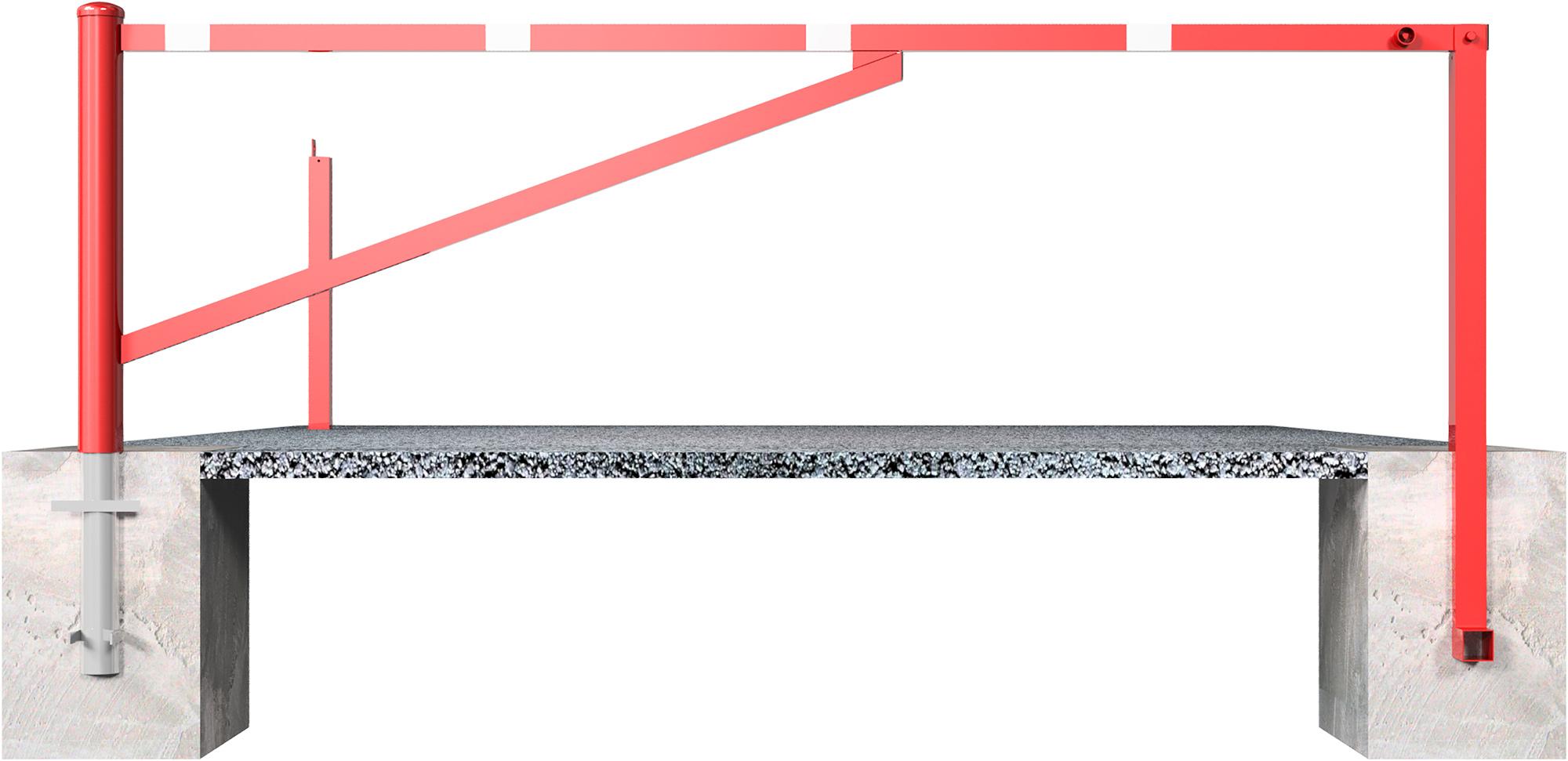 Schake Drehschranke mit 2 Auflagestützen - Schrankenbaum 60 x 40 mm rot | weiß
