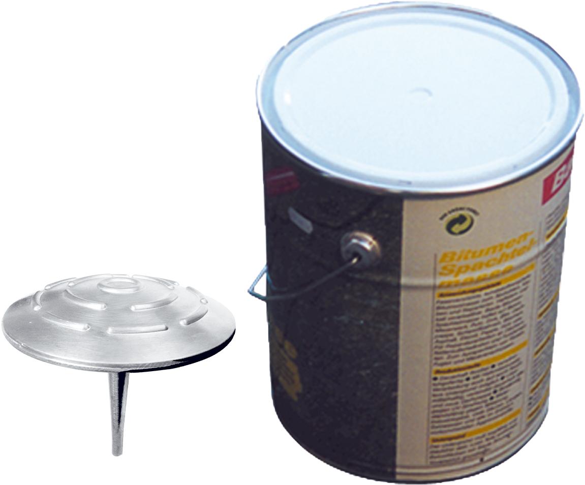 Schake Alumarkierungsnagel Ø 100 mm - hawego Set 10 Markierungsknöpfe Alu - Zweikomponenten Kleber 10 kg - verschiedene Ausführungen (SK-C-39120-H10) Bild-01