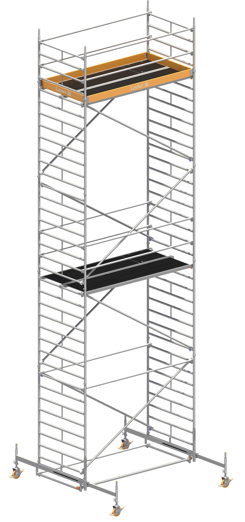 Fahrgerüst Layher Uni Breit 2108 mit Geländer-Optimierung