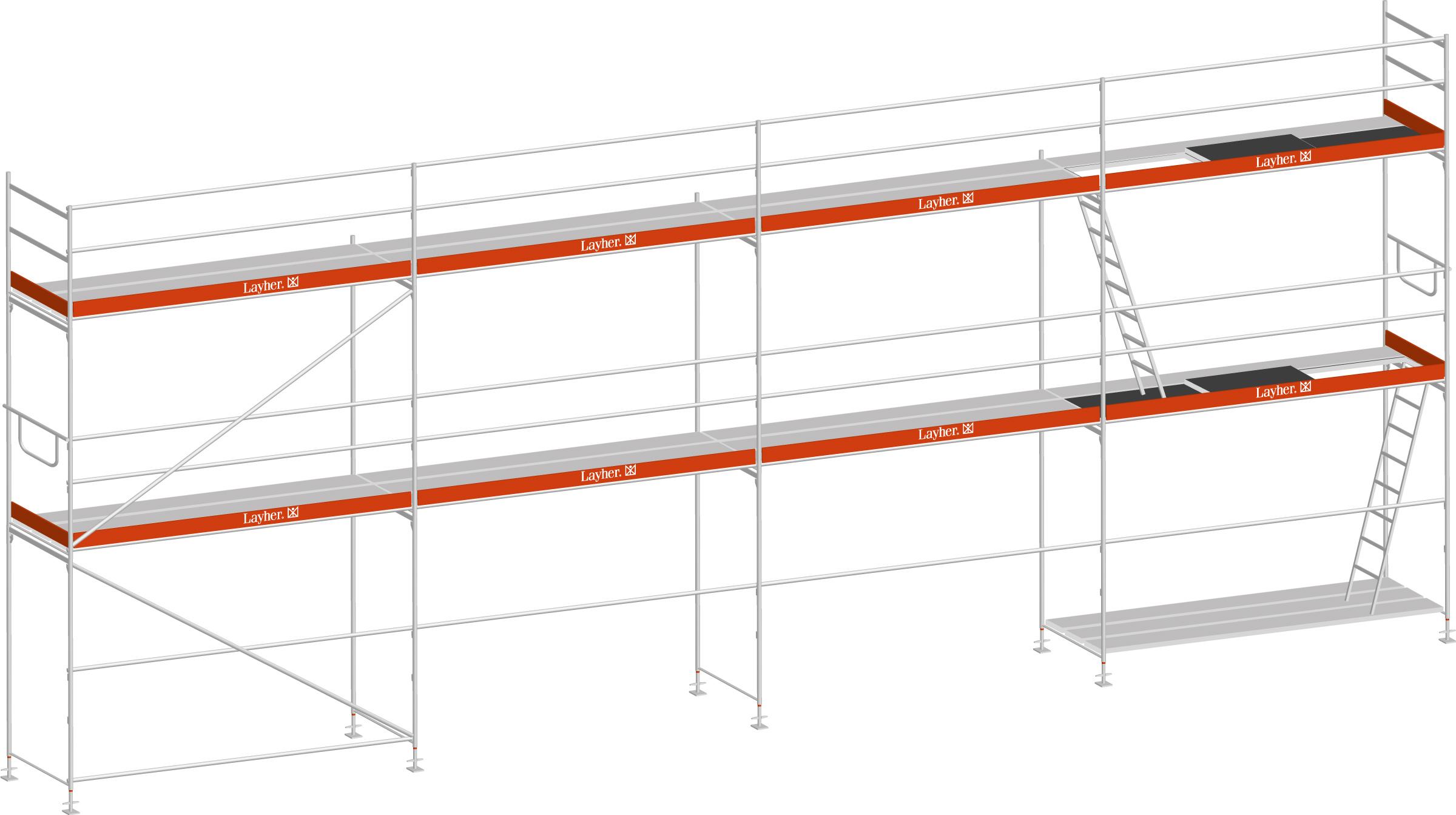 Layher Blitz Gerüst 100 Stahl 64 m²