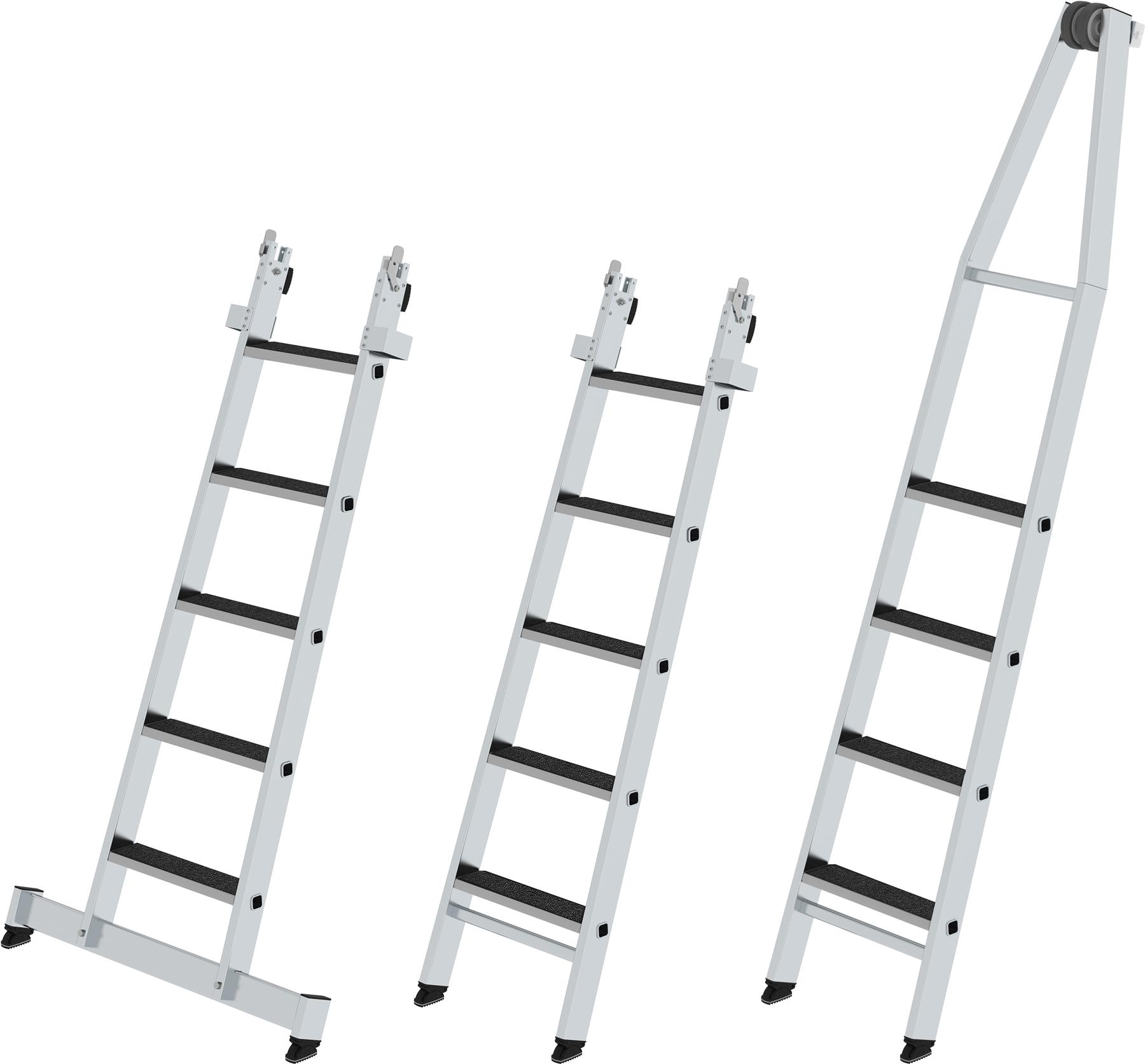 Günzburger Stufen-Glasreinigerleiter Set mit clip-step Auflage R13
