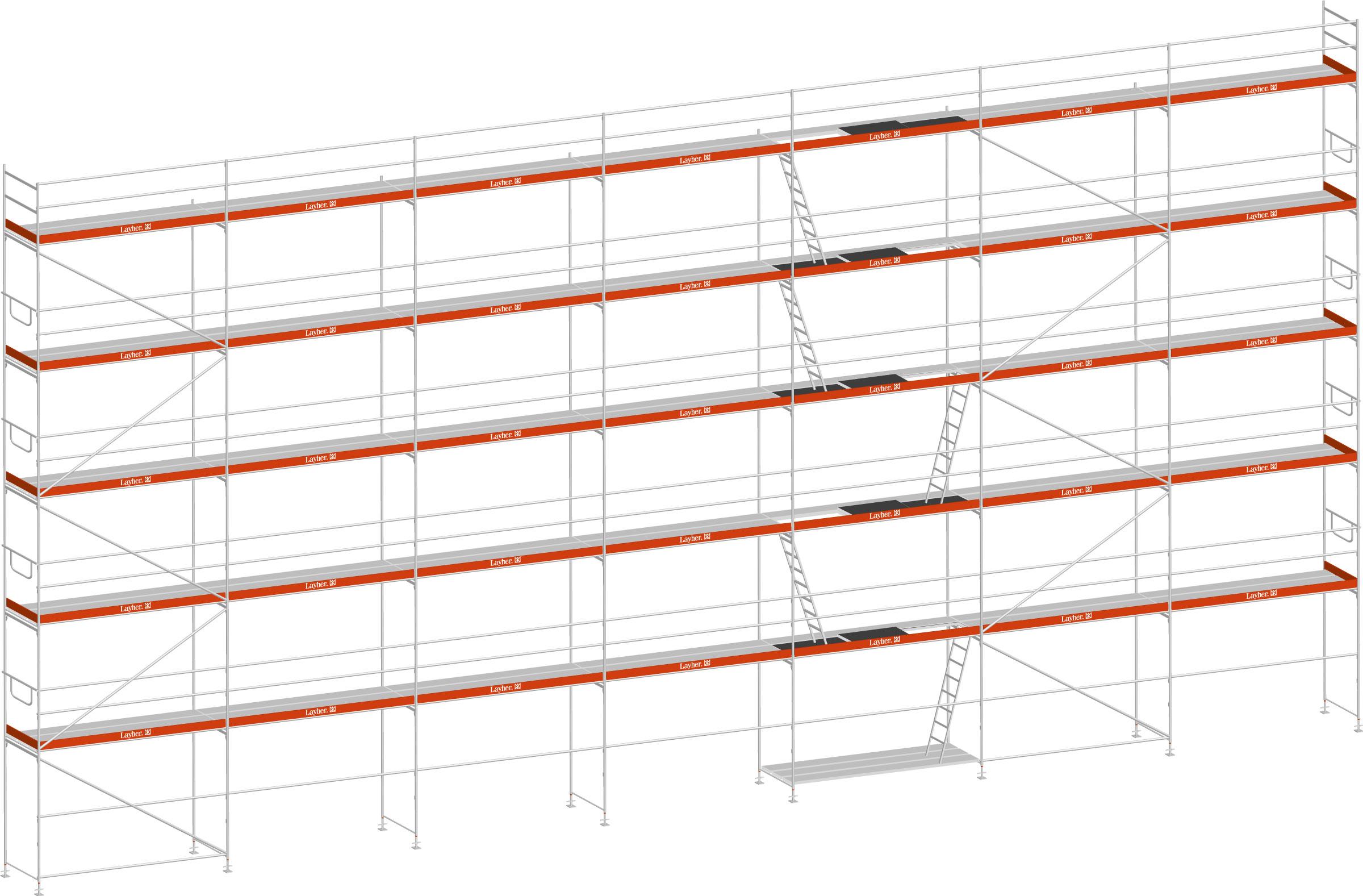 Layher Blitz Gerüst 100 Stahl 220 m²