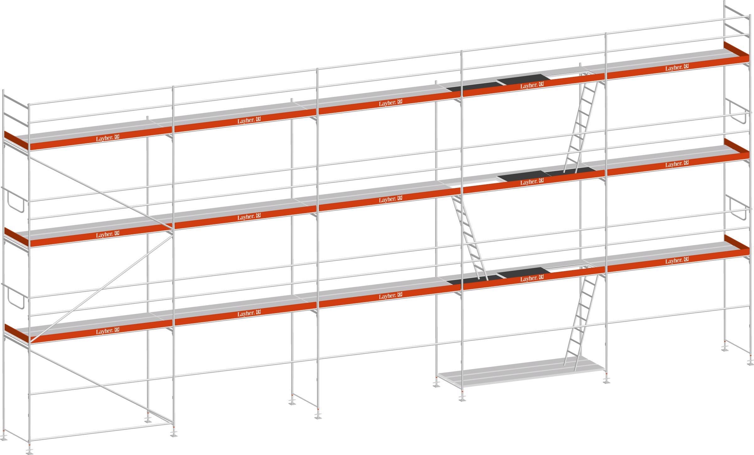 Layher Blitz Gerüst 100 Stahl 106 m²