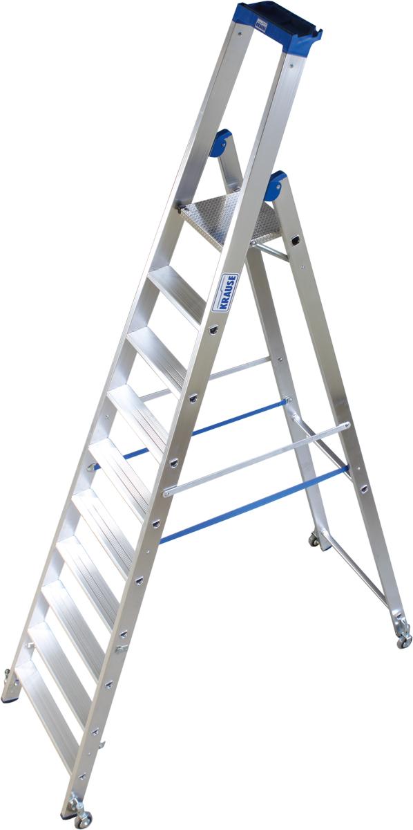 Krause Alu-Stufenstehleiter fahrbar 10 Stufen
