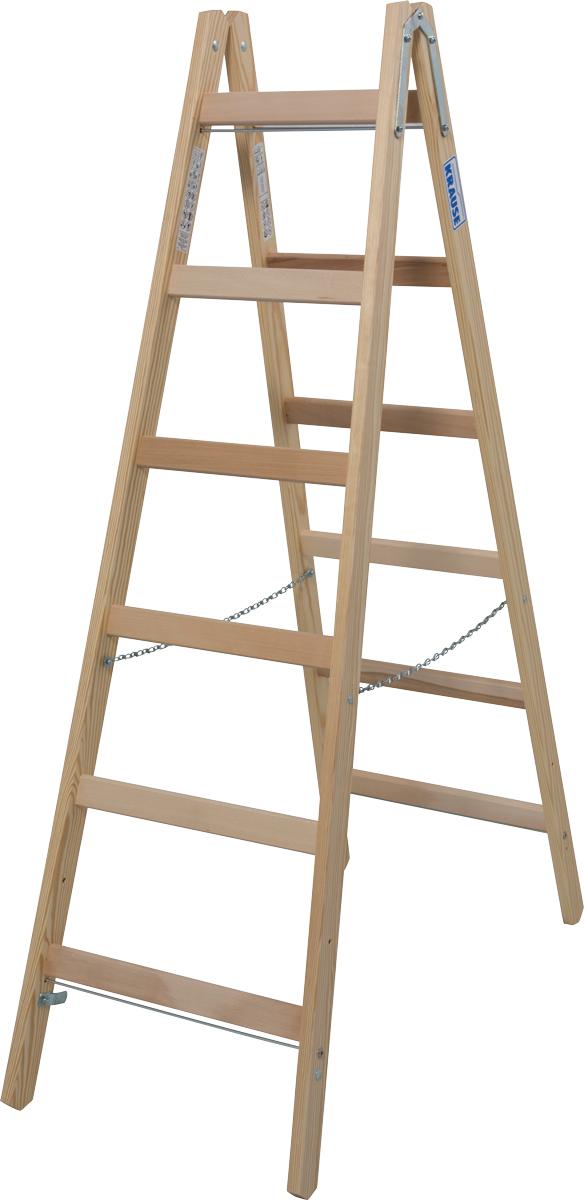 Krause Holz-Sprossendoppelleiter 2x6 Sprossen