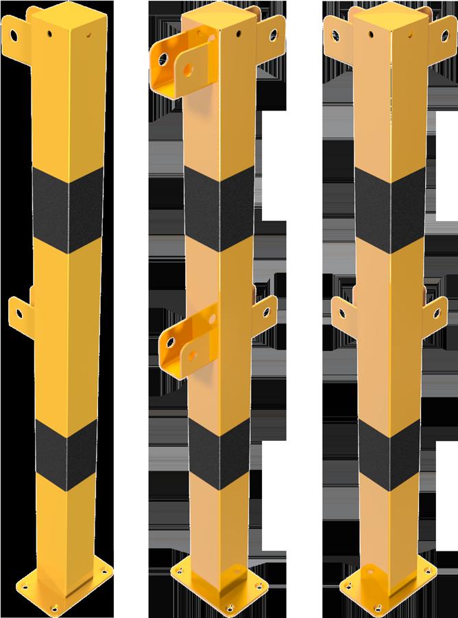 Schake Schutzgeländer Stahl Schraubsystem Standpfosten 70 x 70 mm gelb | schwarz